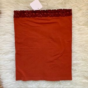 NWT Rust lace trimmed full length tube top